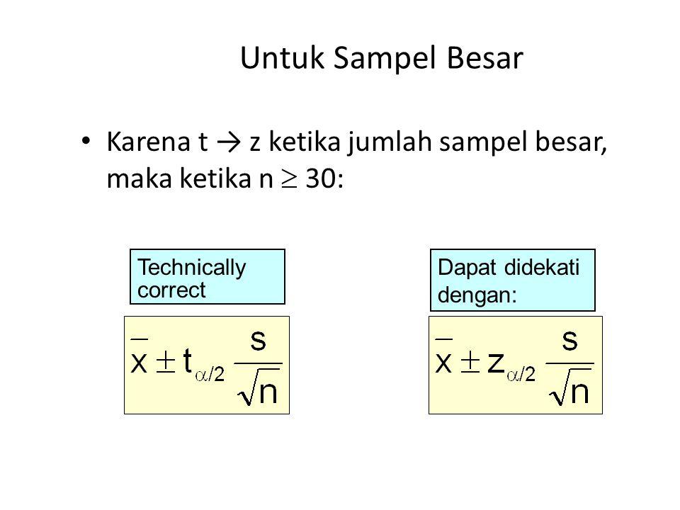 Untuk Sampel Besar Karena t → z ketika jumlah sampel besar, maka ketika n  30: Technically. correct.