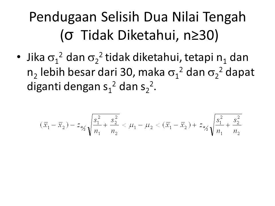 Pendugaan Selisih Dua Nilai Tengah (σ Tidak Diketahui, n≥30)