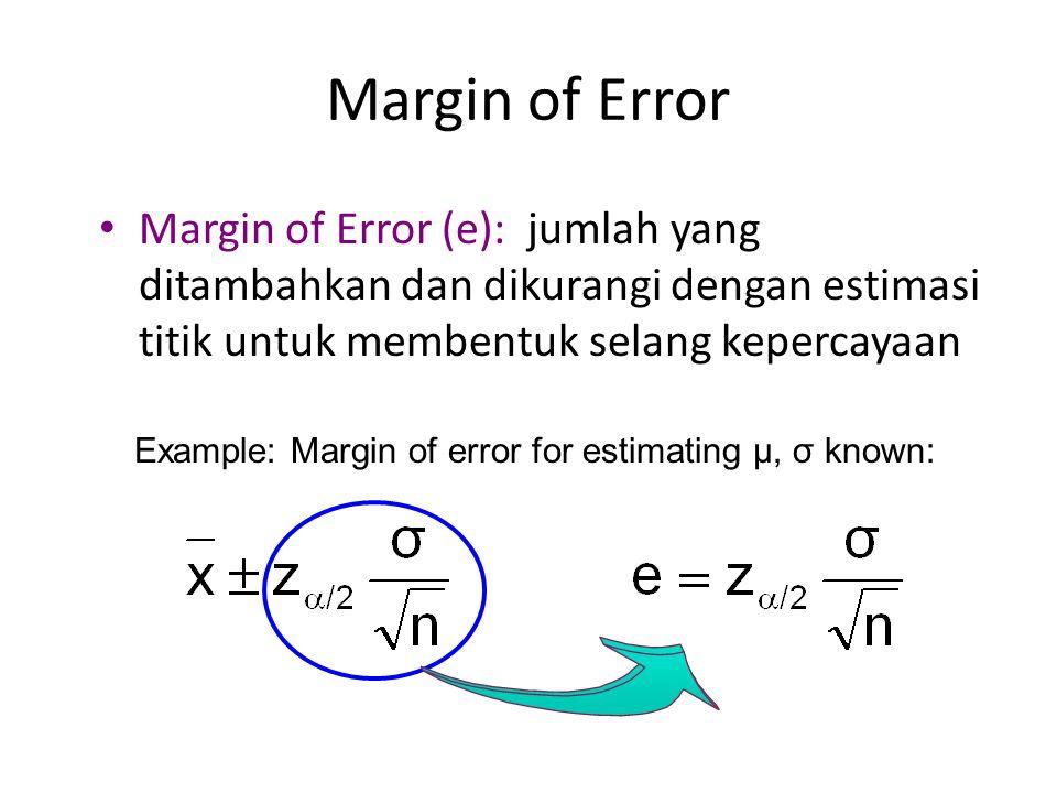 Margin of Error Margin of Error (e): jumlah yang ditambahkan dan dikurangi dengan estimasi titik untuk membentuk selang kepercayaan.