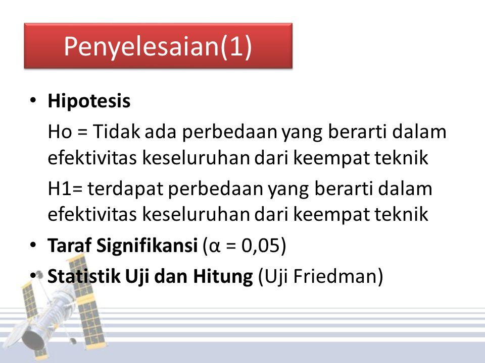 Penyelesaian(1) Hipotesis