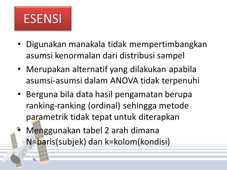 ESENSI Digunakan manakala tidak mempertimbangkan asumsi kenormalan dari distribusi sampel.