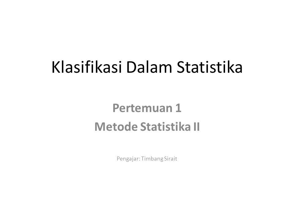Klasifikasi Dalam Statistika