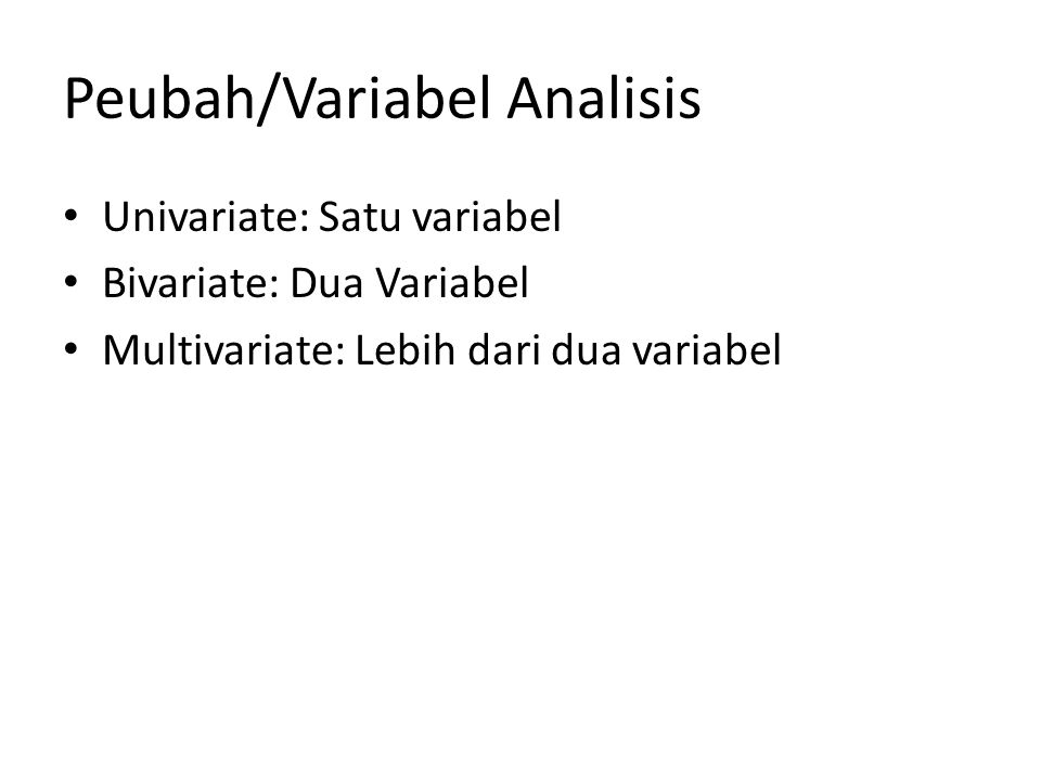 Peubah/Variabel Analisis