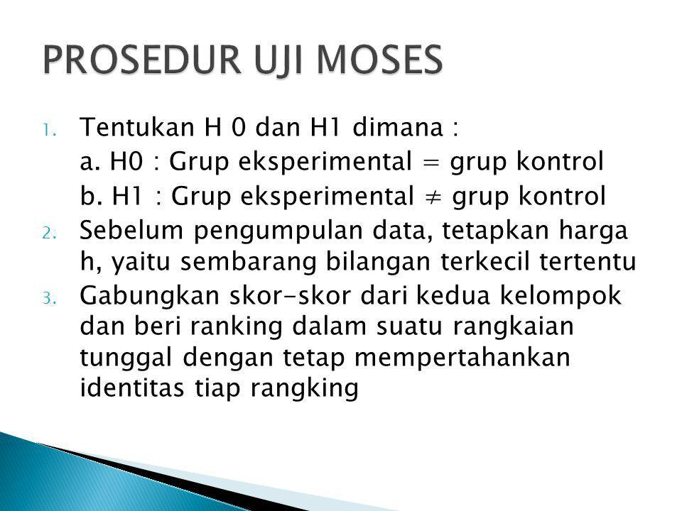 PROSEDUR UJI MOSES Tentukan H 0 dan H1 dimana :