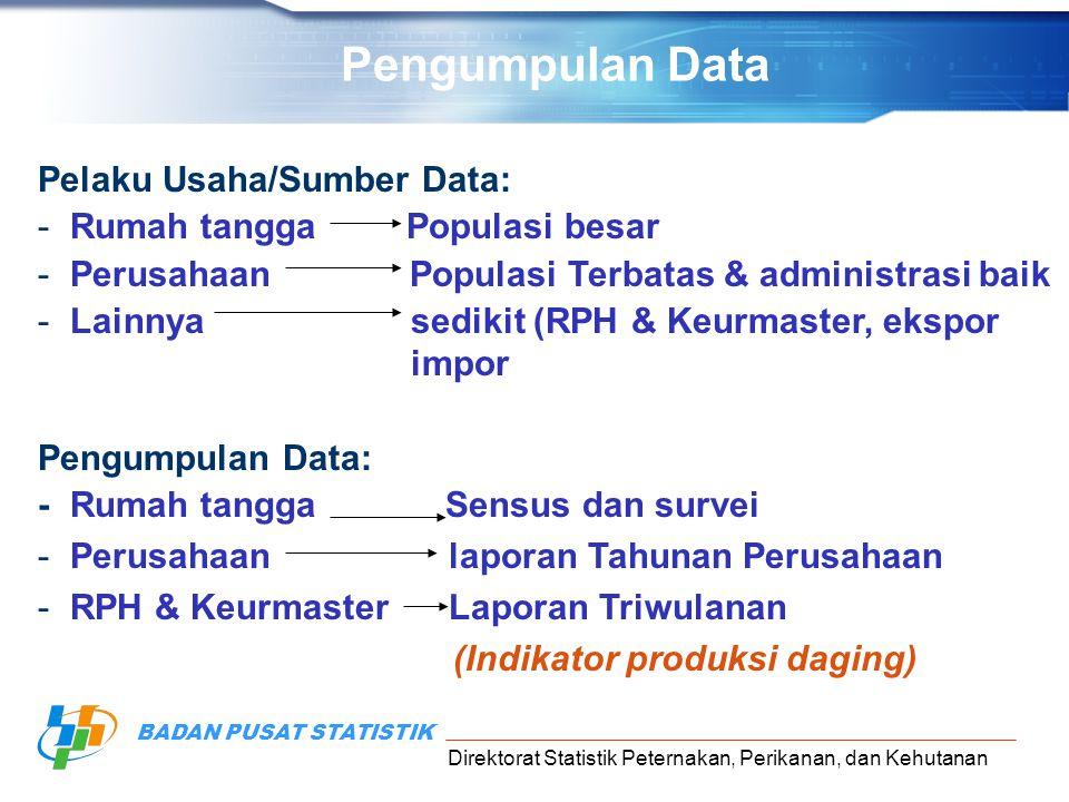 Pengumpulan Data Pelaku Usaha/Sumber Data: Rumah tangga Populasi besar
