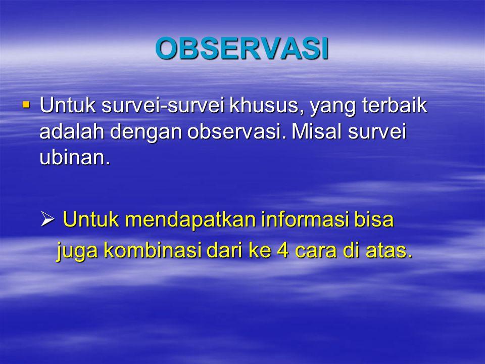 OBSERVASI Untuk survei-survei khusus, yang terbaik adalah dengan observasi. Misal survei ubinan.  Untuk mendapatkan informasi bisa.