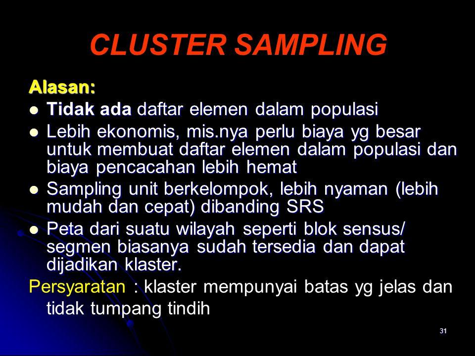 CLUSTER SAMPLING Alasan: Tidak ada daftar elemen dalam populasi
