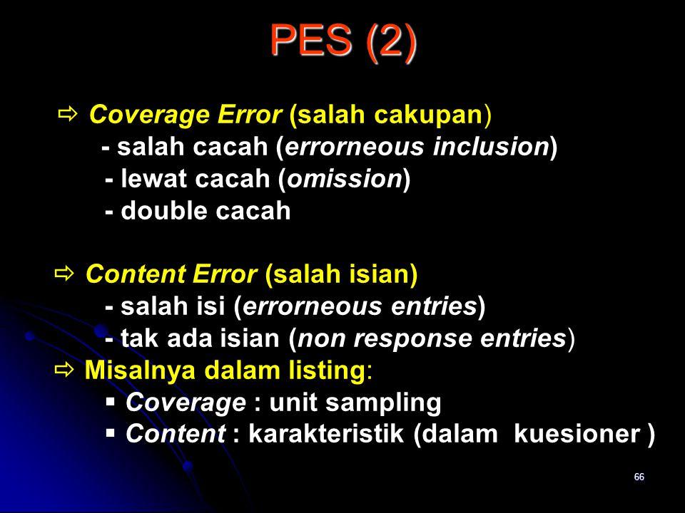 PES (2) - salah cacah (errorneous inclusion) - lewat cacah (omission)