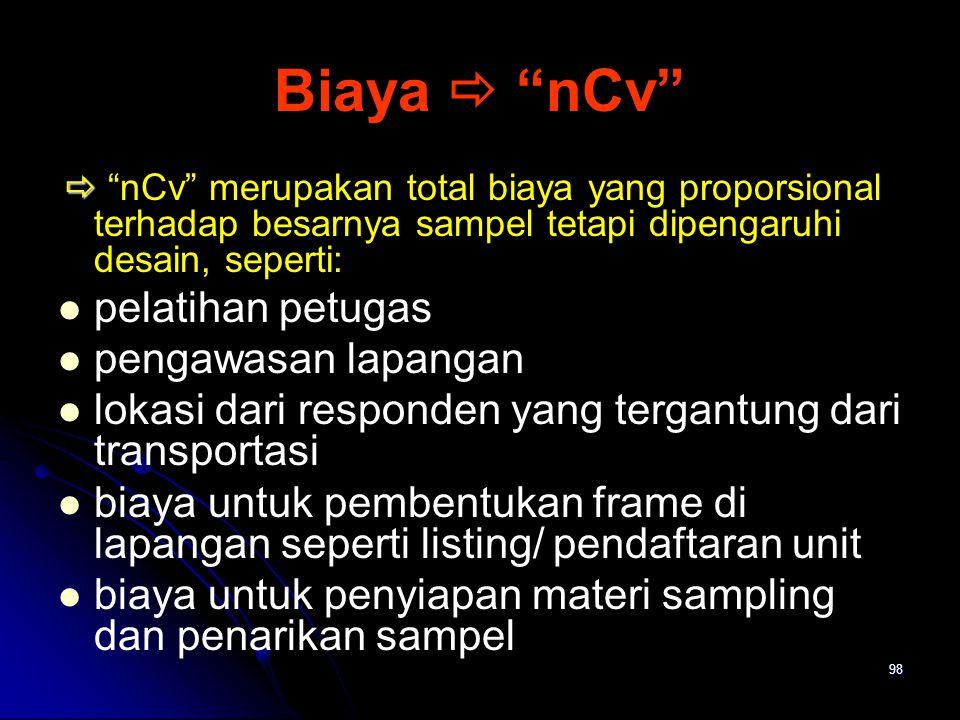 Biaya  nCv pelatihan petugas pengawasan lapangan