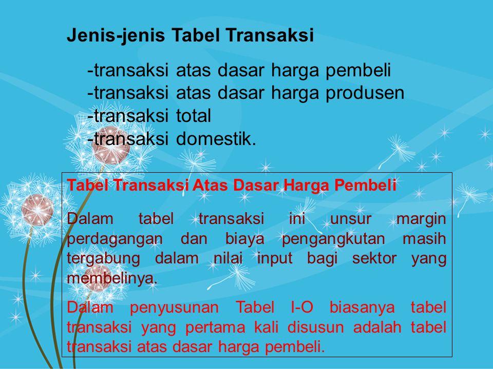 Jenis-jenis Tabel Transaksi transaksi atas dasar harga pembeli