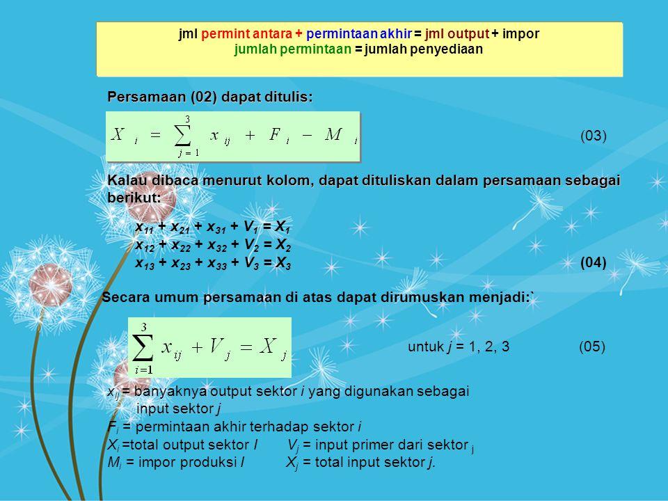 Persamaan (02) dapat ditulis: