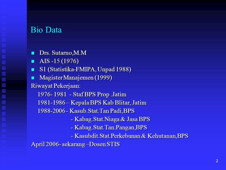 Bio Data Drs. Sutarno,M.M AIS -15 (1976)