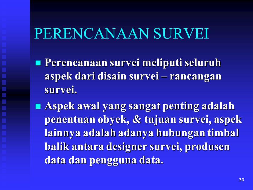 PERENCANAAN SURVEI Perencanaan survei meliputi seluruh aspek dari disain survei – rancangan survei.