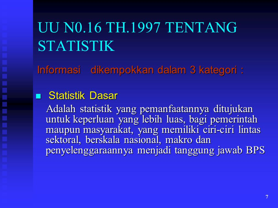 UU N0.16 TH.1997 TENTANG STATISTIK