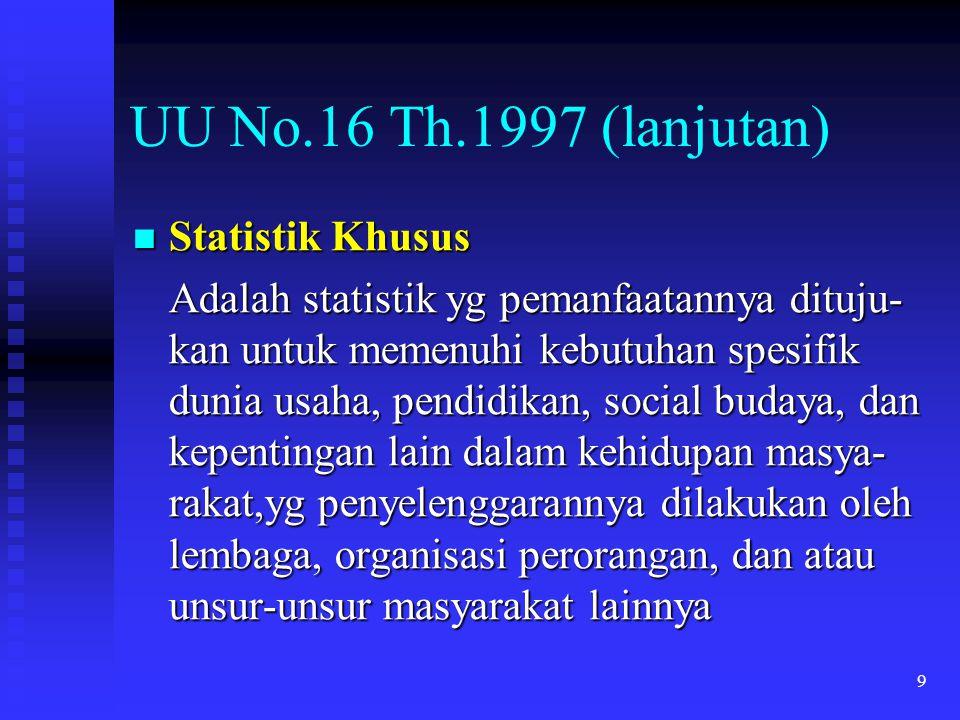 UU No.16 Th.1997 (lanjutan) Statistik Khusus