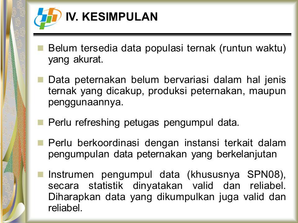 IV. KESIMPULAN Belum tersedia data populasi ternak (runtun waktu) yang akurat.