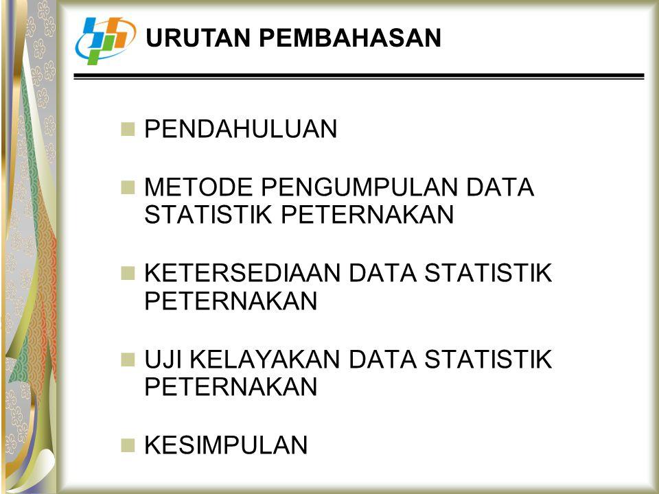 URUTAN PEMBAHASAN PENDAHULUAN. METODE PENGUMPULAN DATA STATISTIK PETERNAKAN. KETERSEDIAAN DATA STATISTIK PETERNAKAN.