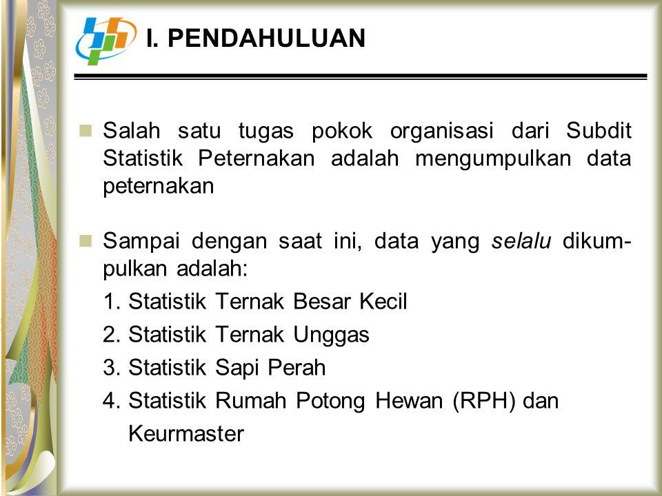 I. PENDAHULUAN Salah satu tugas pokok organisasi dari Subdit Statistik Peternakan adalah mengumpulkan data peternakan.