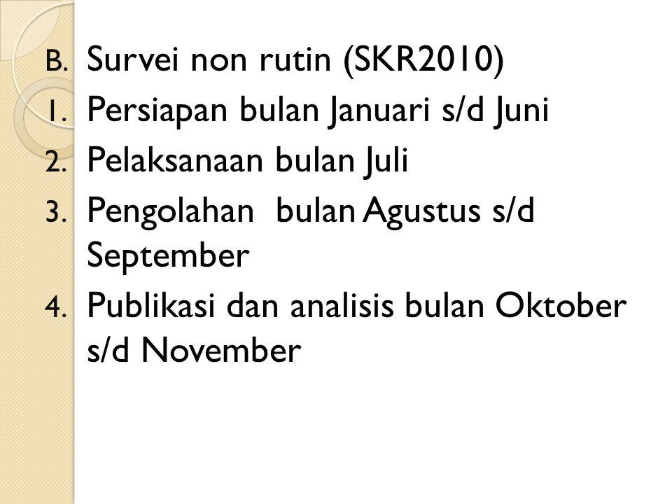 Survei non rutin (SKR2010) Persiapan bulan Januari s/d Juni. Pelaksanaan bulan Juli. Pengolahan bulan Agustus s/d September.
