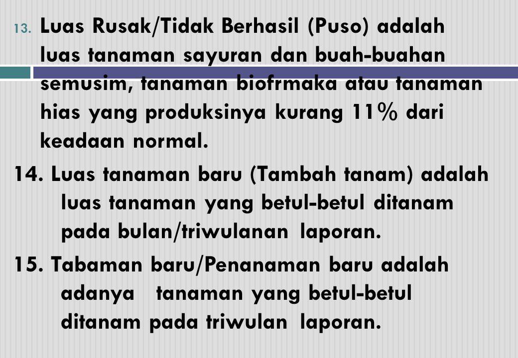 Luas Rusak/Tidak Berhasil (Puso) adalah luas tanaman sayuran dan buah-buahan semusim, tanaman biofrmaka atau tanaman hias yang produksinya kurang 11% dari keadaan normal.
