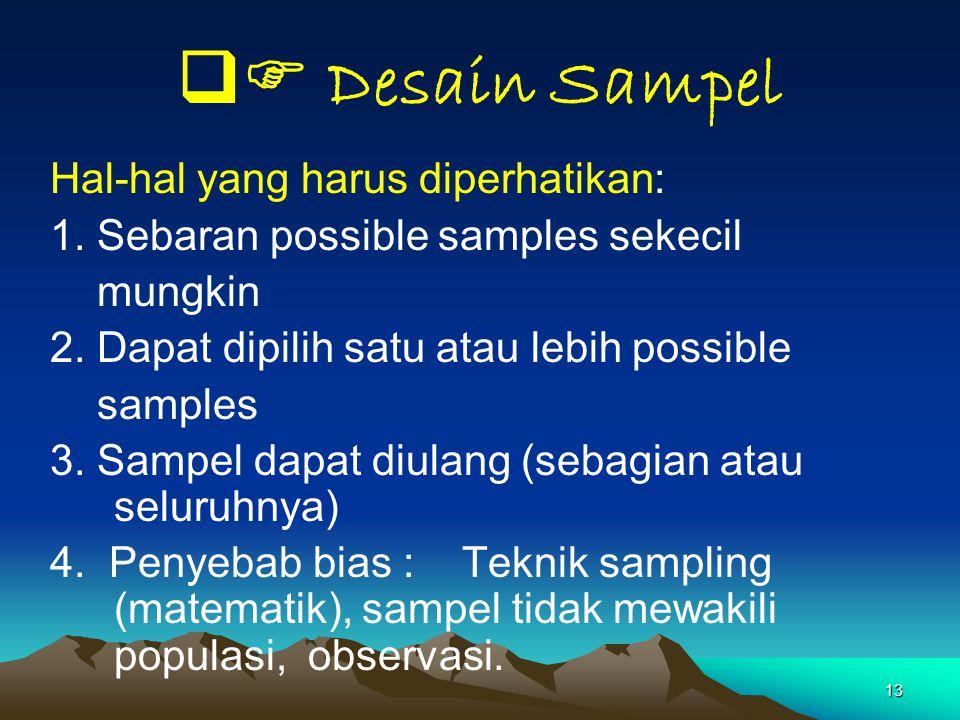  Desain Sampel Hal-hal yang harus diperhatikan: