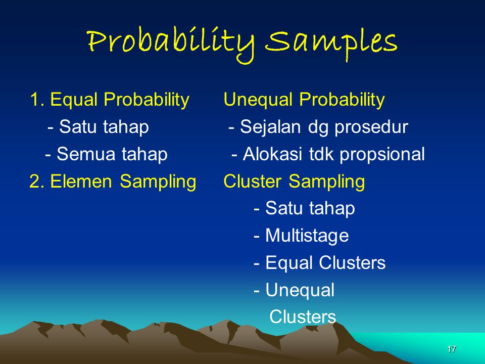 Probability Samples 1. Equal Probability Unequal Probability