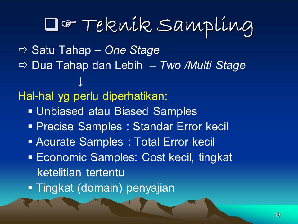  Teknik Sampling  Satu Tahap – One Stage