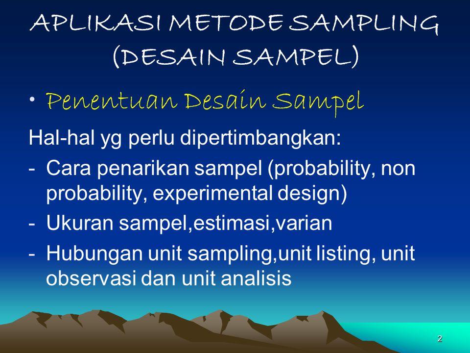 APLIKASI METODE SAMPLING (DESAIN SAMPEL)
