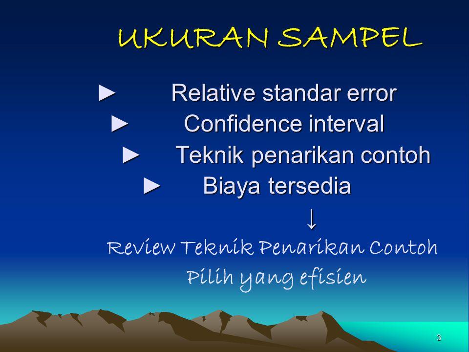 UKURAN SAMPEL ► Relative standar error ► Confidence interval