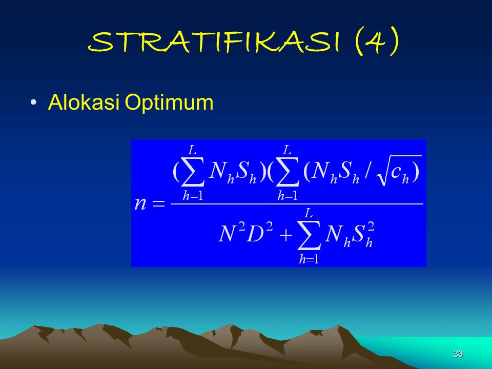 STRATIFIKASI (4) Alokasi Optimum