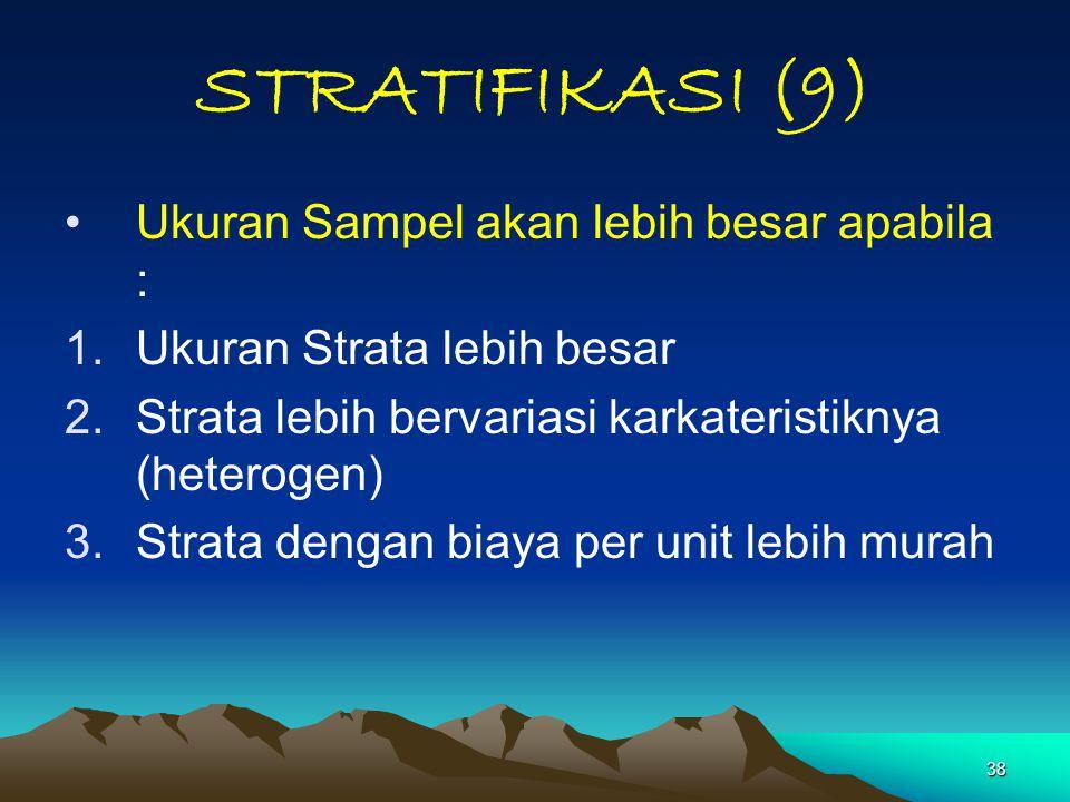 STRATIFIKASI (9) Ukuran Sampel akan lebih besar apabila :