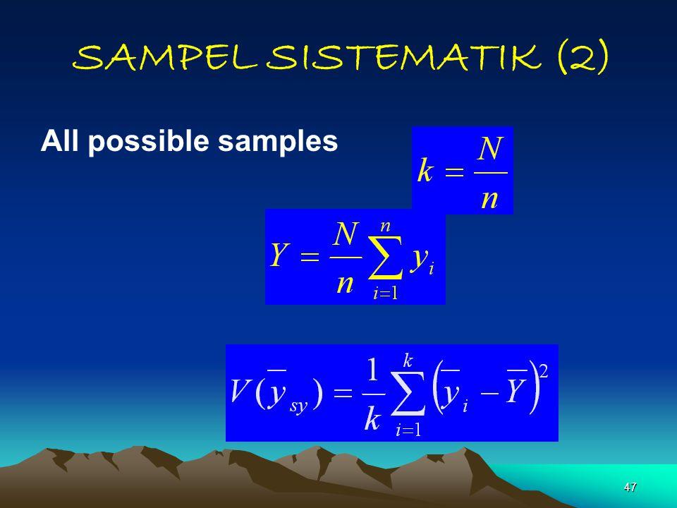 SAMPEL SISTEMATIK (2) All possible samples