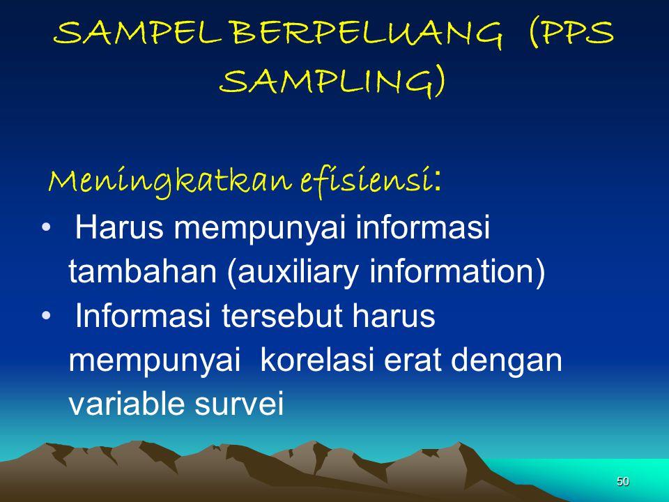 SAMPEL BERPELUANG (PPS SAMPLING)
