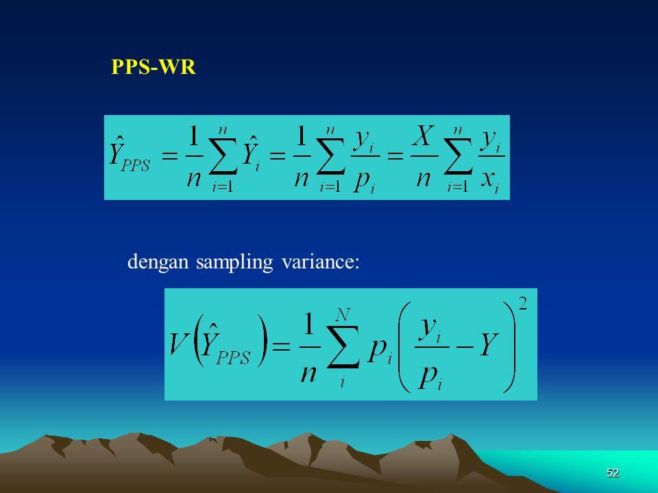 dengan sampling variance: