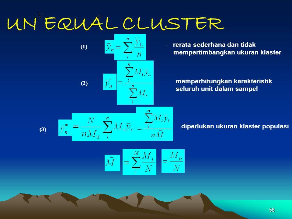 UN EQUAL CLUSTER mempertimbangkan ukuran klaster