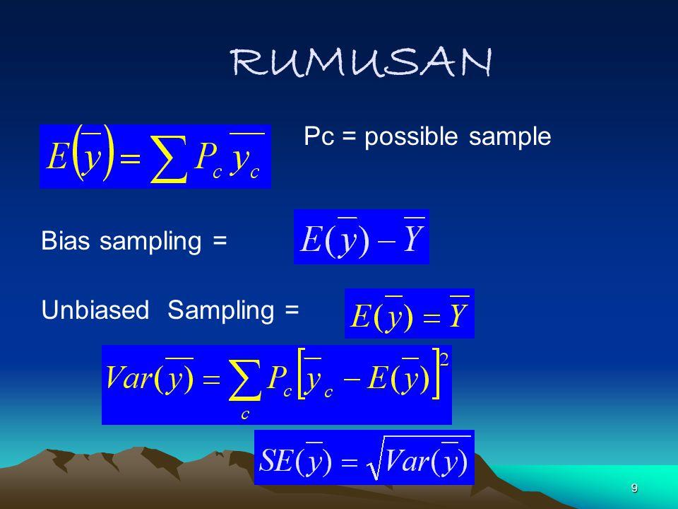 RUMUSAN Pc = possible sample Bias sampling = Unbiased Sampling =