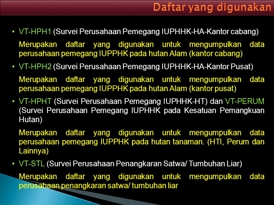 Daftar yang digunakan VT-HPH1 (Survei Perusahaan Pemegang IUPHHK-HA-Kantor cabang)