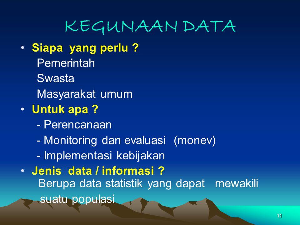 KEGUNAAN DATA Siapa yang perlu Pemerintah Swasta Masyarakat umum