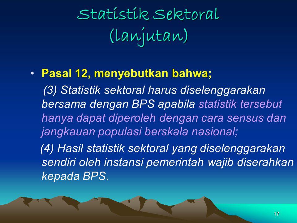 Statistik Sektoral (lanjutan)