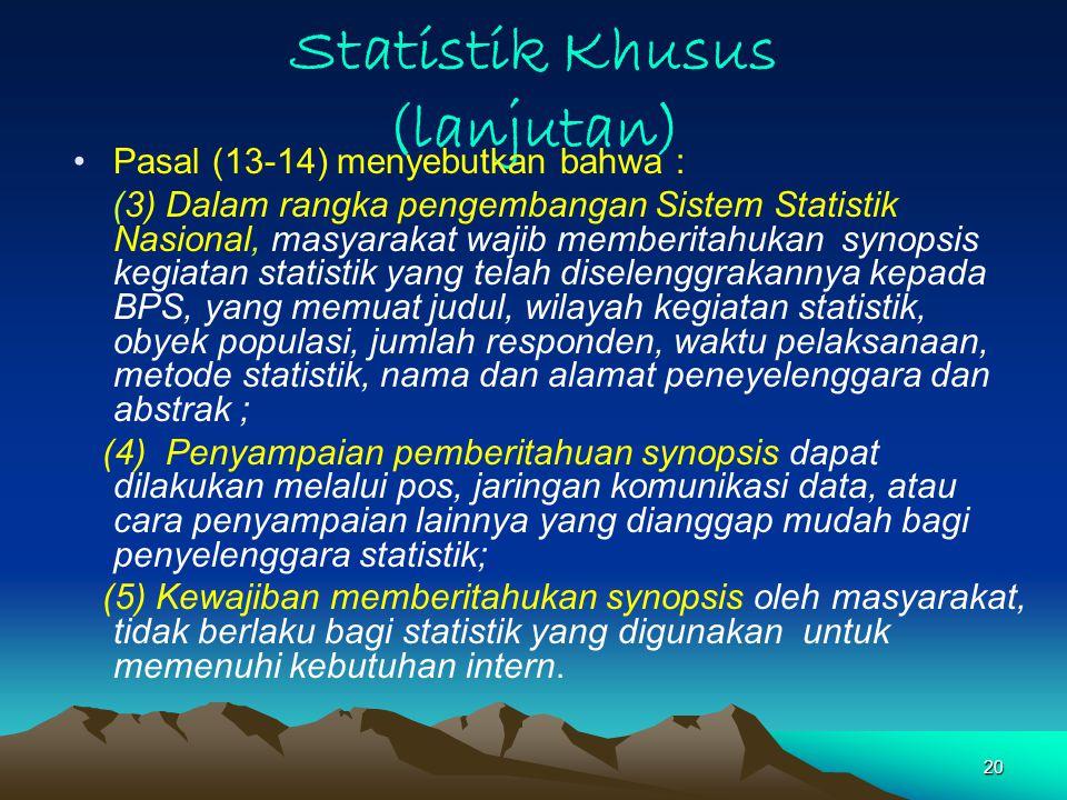 Statistik Khusus (lanjutan)