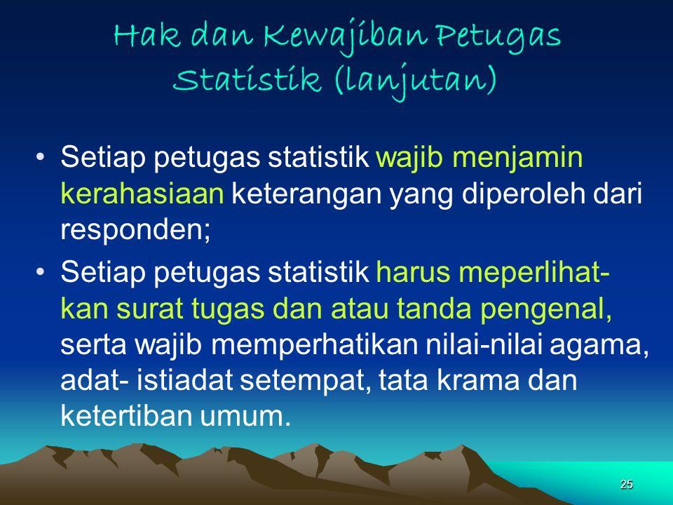 Hak dan Kewajiban Petugas Statistik (lanjutan)
