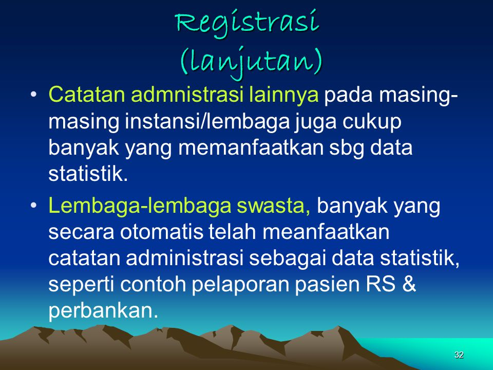 Registrasi (lanjutan)