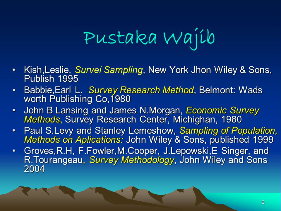 Pustaka Wajib Kish,Leslie, Survei Sampling, New York Jhon Wiley & Sons, Publish 1995.