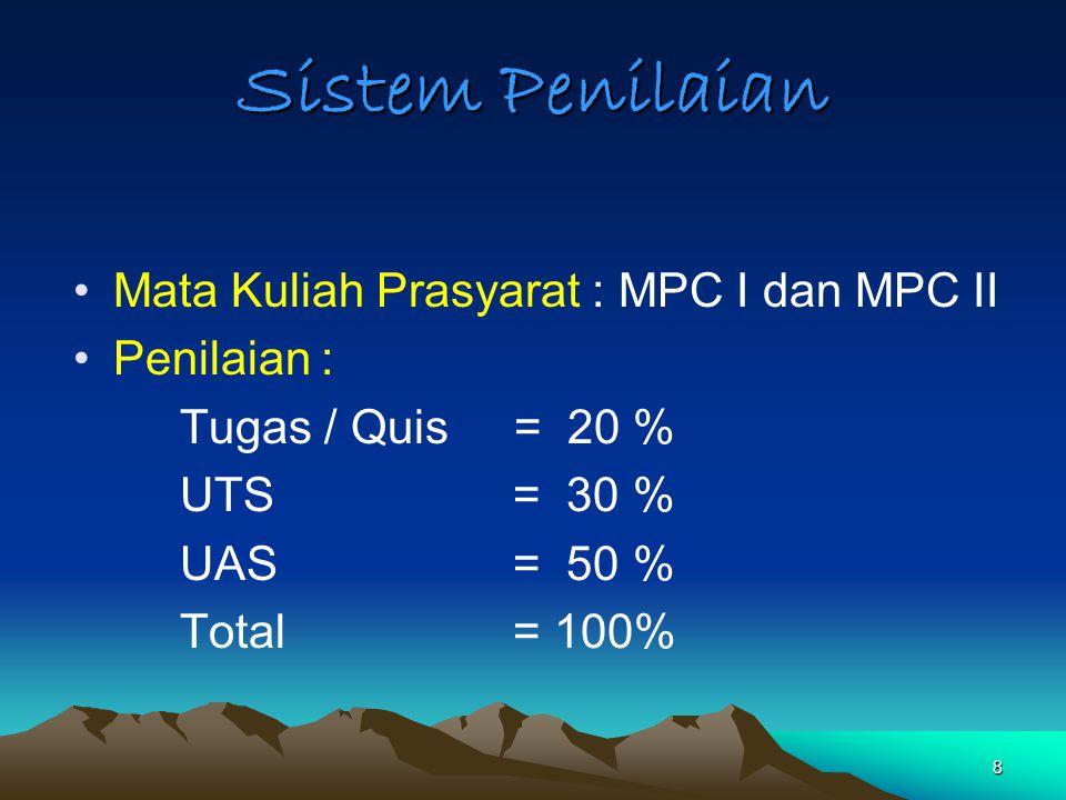 Sistem Penilaian Mata Kuliah Prasyarat : MPC I dan MPC II Penilaian :