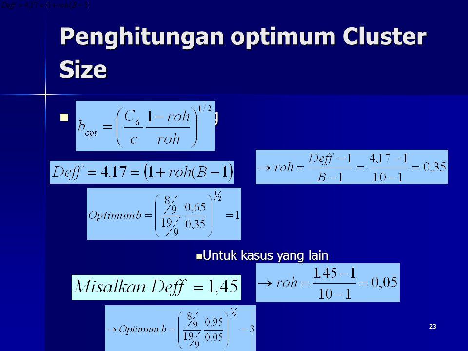 Penghitungan optimum Cluster Size