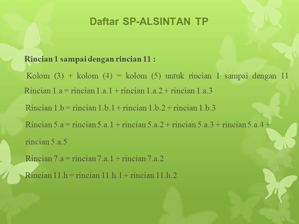 Daftar SP-ALSINTAN TP Rincian 1 sampai dengan rincian 11 :
