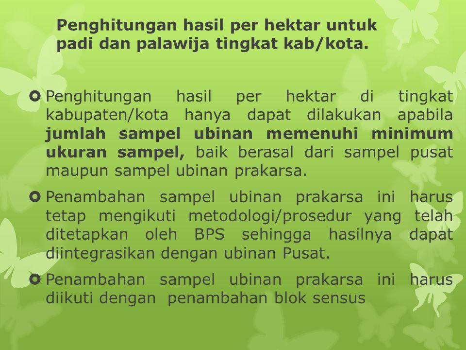 Penghitungan hasil per hektar untuk padi dan palawija tingkat kab/kota.