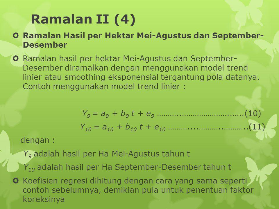 Ramalan II (4) Ramalan Hasil per Hektar Mei-Agustus dan September- Desember.