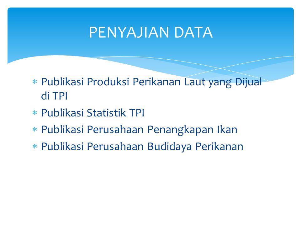 PENYAJIAN DATA Publikasi Produksi Perikanan Laut yang Dijual di TPI