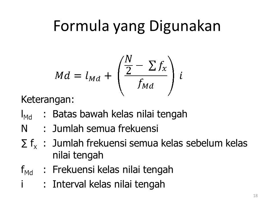Formula yang Digunakan